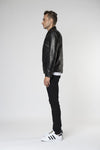 Marlon zip biker leather jacket Jet side