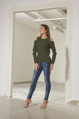 Reegan thick ribbed knit top