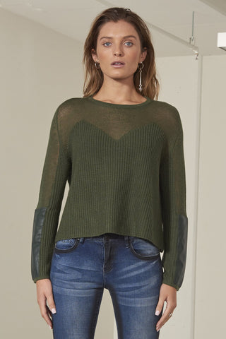 Raven wool blend ribbed knit top