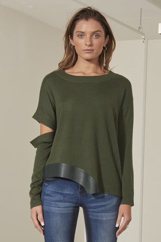 Riley knitted sweater top with leather trim