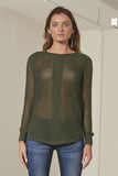 Florence multi-texture crew neck nit top