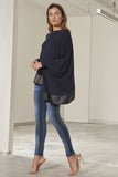Sienna knit top with italian lambskin leather raw edge trim