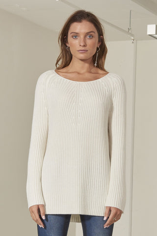 Ruby ribbed knit top with Italian leather insert