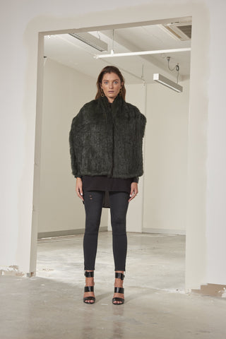 Brigitte long line rabbit fur stole