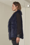 Grayson long line rabbit fur vest Navy