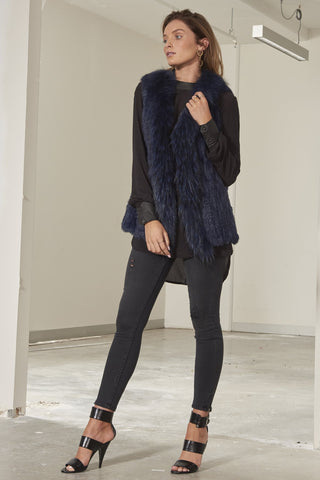 Grayson long line rabbit fur vest Navy 2