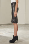 Houston Italian lambskin leather fitted high-waist skirt