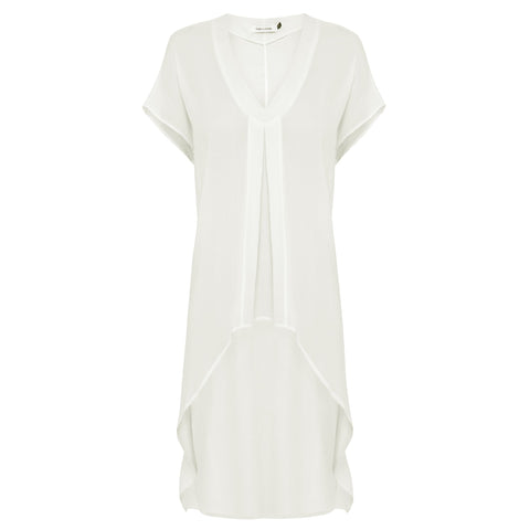 Victoria Silk Dress - Chalk White