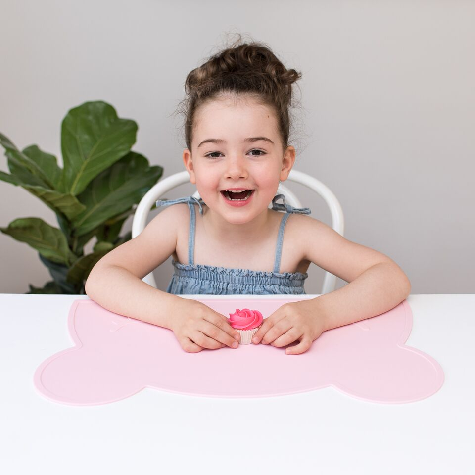 Bear Placemat in Pink, Dishwasher safe, We Might Be Tiny Placemats, BPA Free, Silicone Non-Slip, Buy at Thistle & Roo.