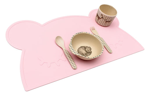 Bear Placemat in Pink, We Might Be Tiny Placemats, BPA Free, Silicone Non-Slip, Buy at Thistle & Roo.