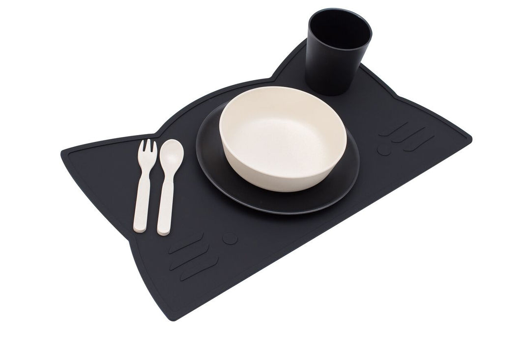 Black Cat Placemat, BPA Free, Safe for Kids, Designed by We Might be Tiny Buy at Thistle & Roo.