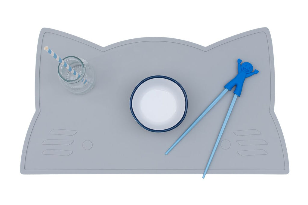 Grey Cat Placemat, BPA Free, Safe for Kids, Designed by We Might be Tiny Buy at Thistle & Roo.