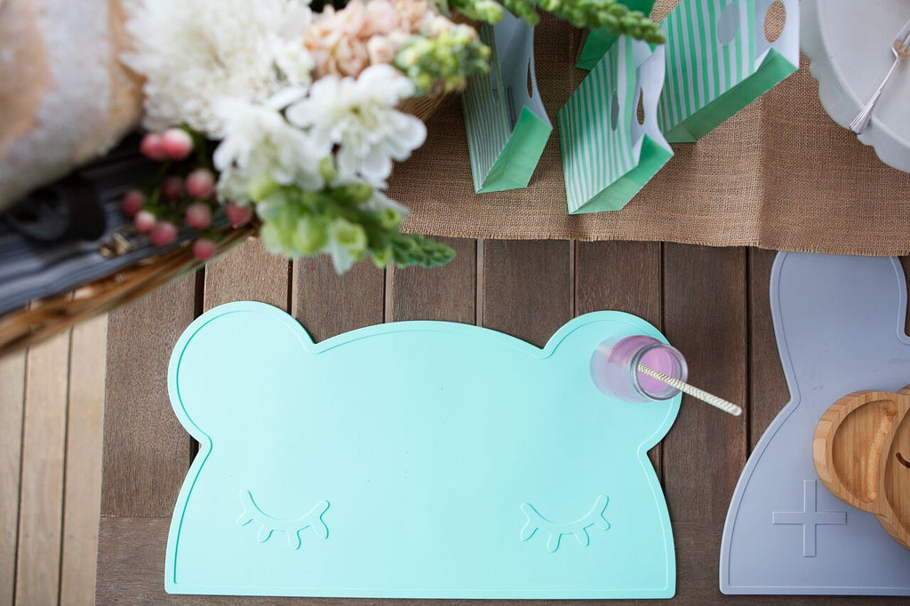 Bear Placemat in Minty Green, We Might Be Tiny Placemats, BPA Free, Silicone Non-Slip, Buy at Thistle & Roo.