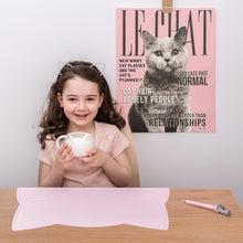 Pink Cat Placemat, BPA Free, Safe for Kids, Designed by We Might be Tiny Buy at Thistle & Roo.