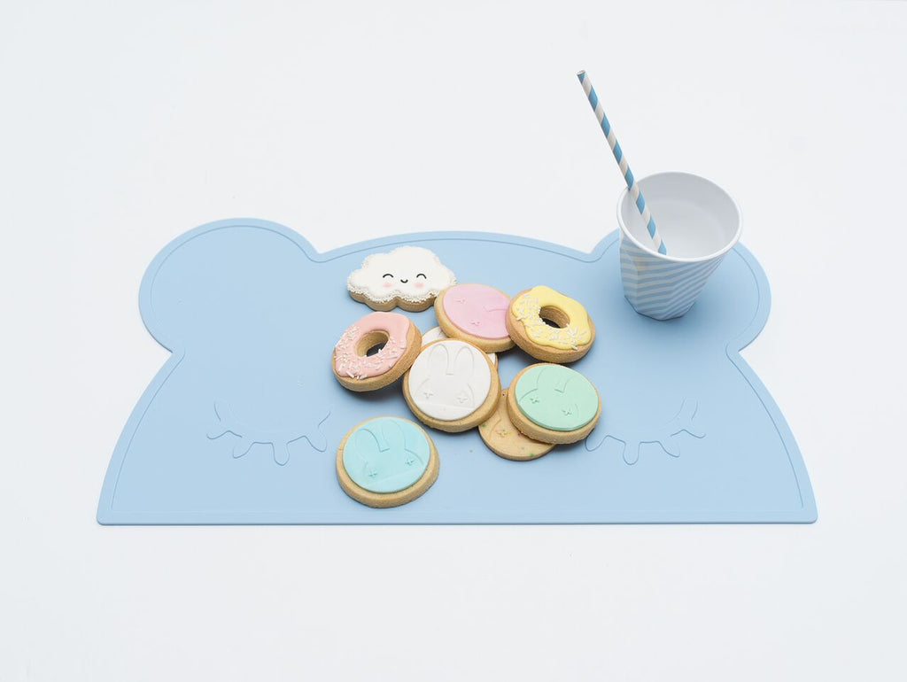 Bear Placemat in Powder Blue, We Might Be Tiny Placemats, BPA Free, Silicone Non-Slip, Buy at Thistle & Roo.