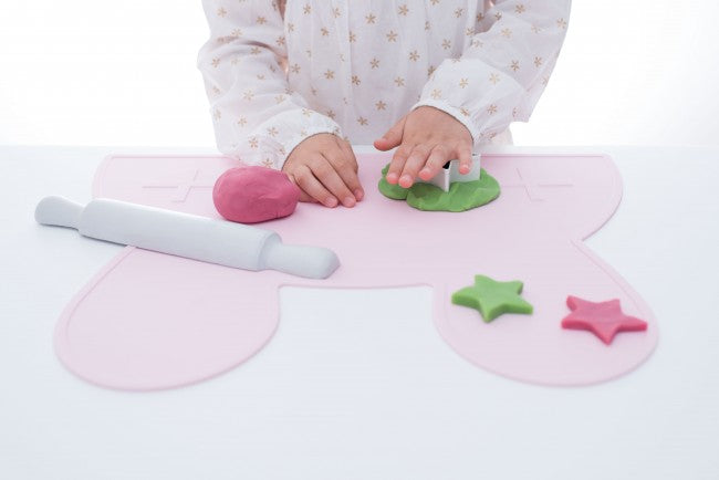 Pink Bunny Placemat, We Might Be Tiny Placemats, BPA Free, Silicone Non-Slip, Buy at Thistle & Roo.