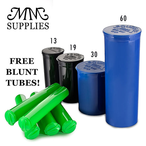 Random Colors Pop Top Containers (13, 19, 30, 60 Dram) Medical Marijuana Container FREE BLUNT TUBES!
