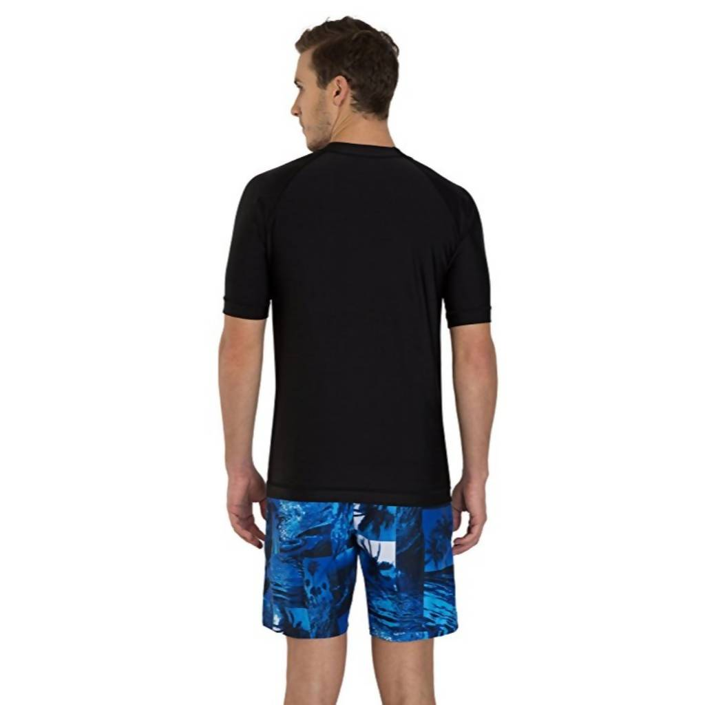 SPEEDO SHORT SLEEVE SUNTOP AM - BLACK/DANUBE