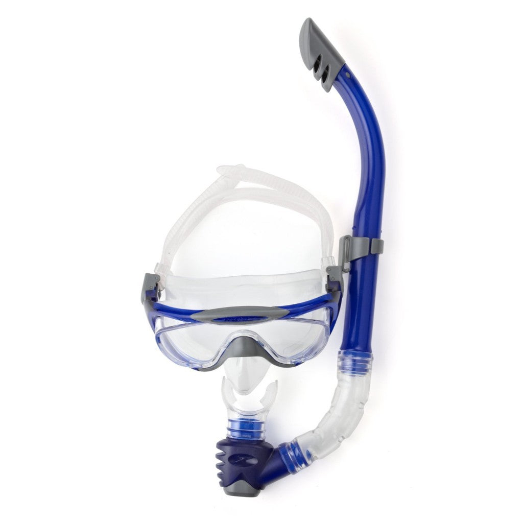 SPEEDO GLIDE MASK SNORKEL SET AU - GREY / BLUE