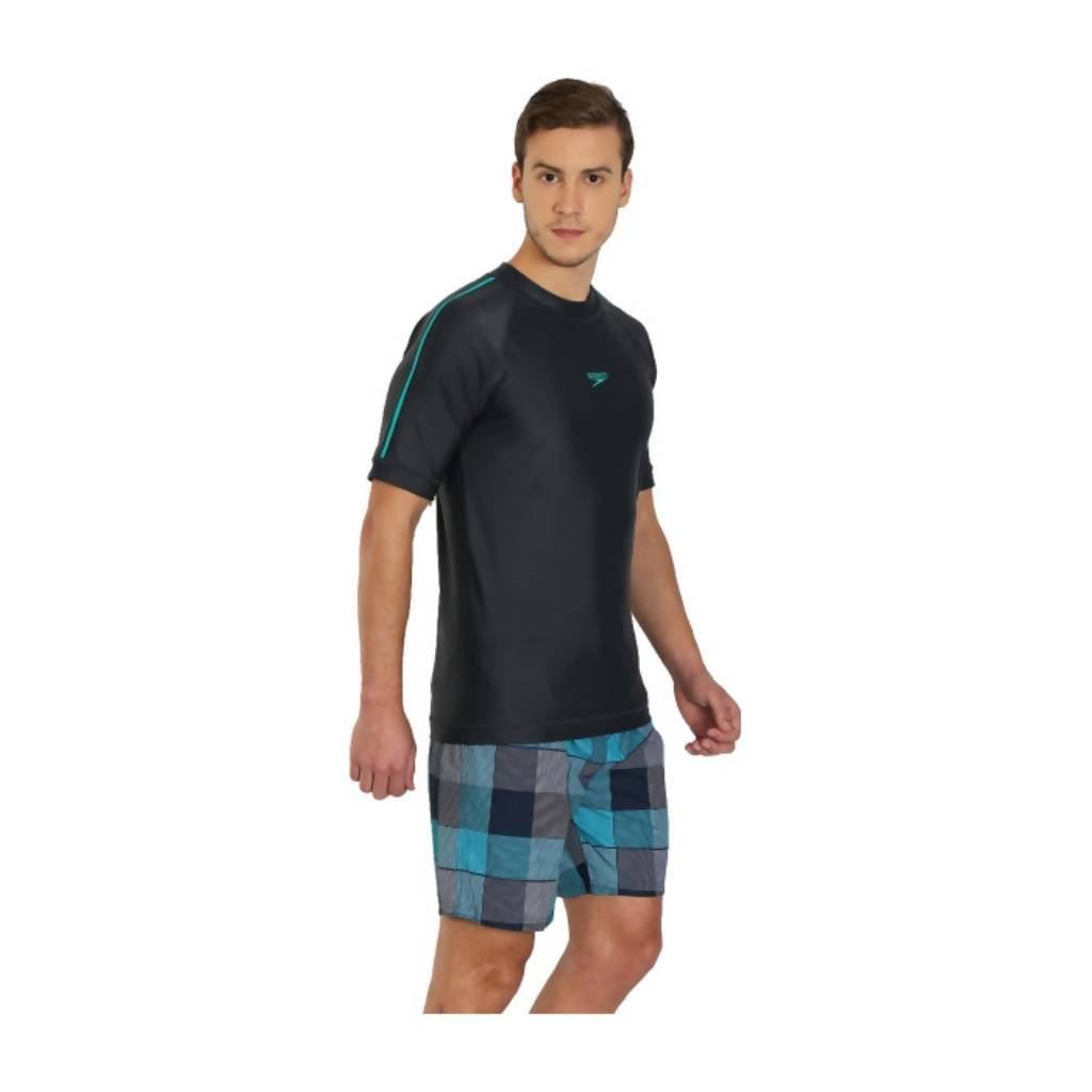 SPEEDO SHORT SLEEVE SUNTOP AM - OXID GREY/JADE