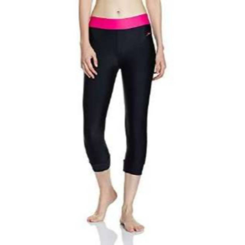 SPEEDO SOLID SWIM CAPRI AF - BLACK/ELECTRIC PINK
