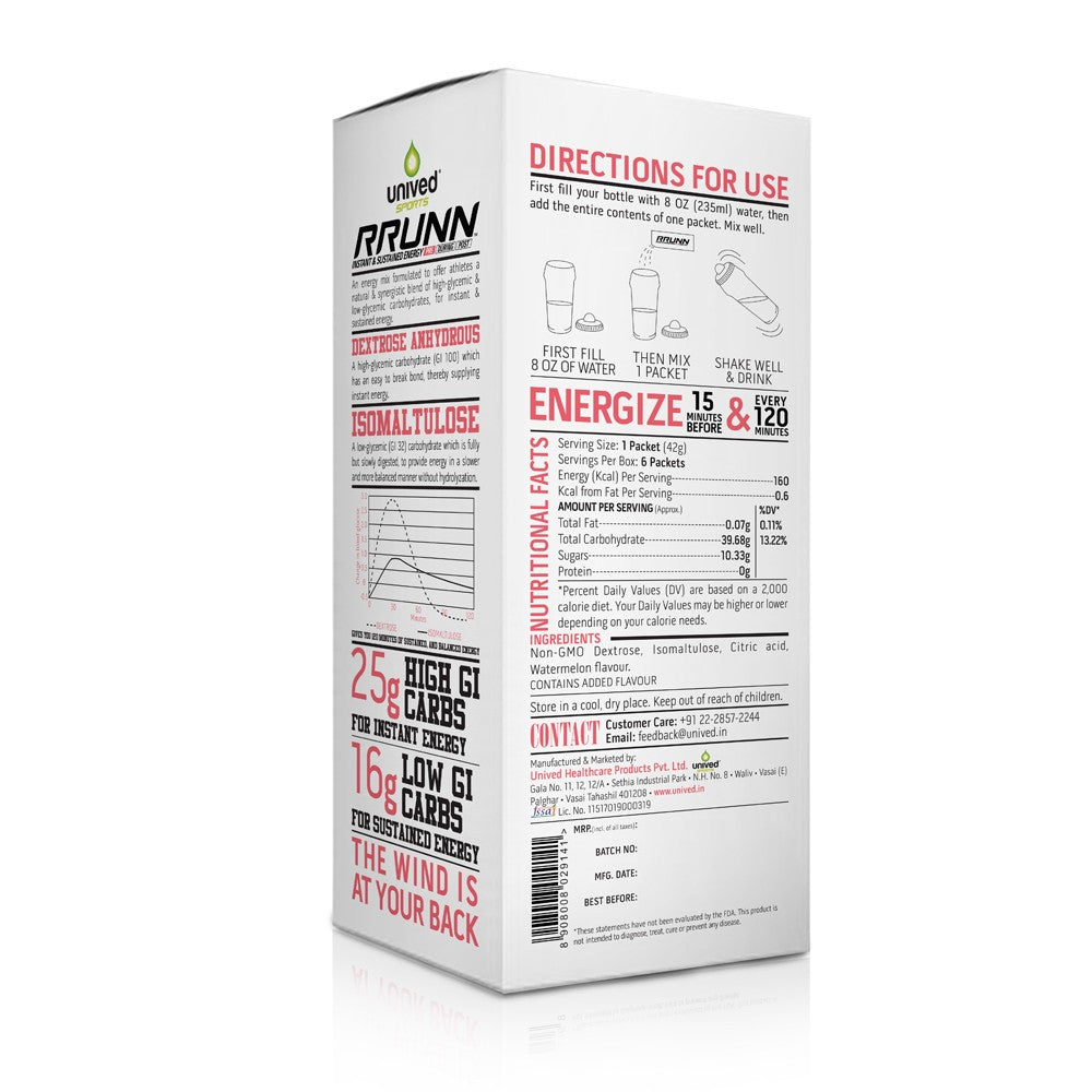 Unived RRUNN Pre Energy Sports Drink Mix, Instant & Sustained Energy, Watermelon Flavour, 6 Servings