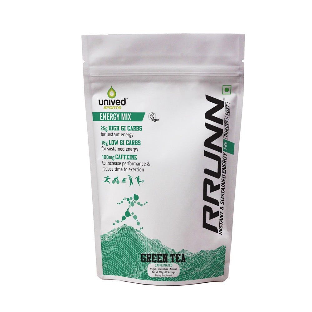 Unived RRUNN Pre Energy Sports Drink Mix - Caffeinated, Instant & Sustained Energy, Green Tea Flavour, 21 Servings