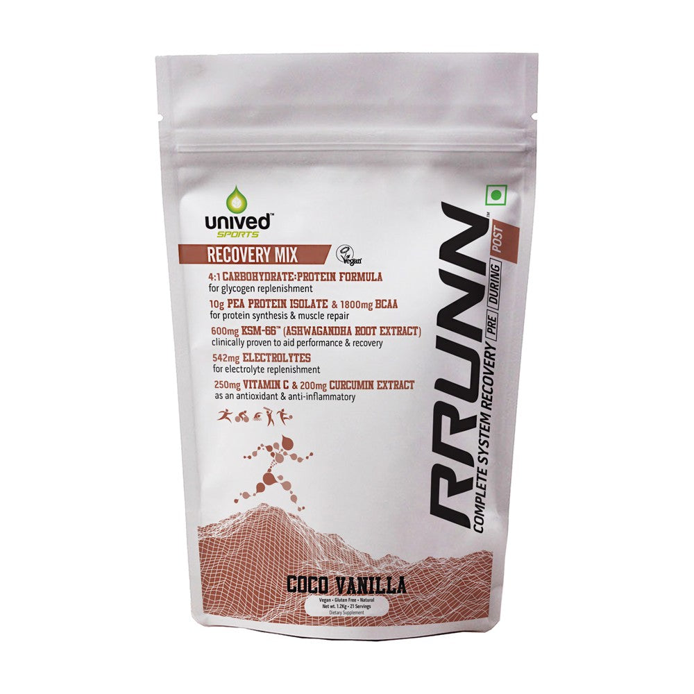 Unived RRUNN Post Recovery Sports Drink Mix, Complete System Recovery, Carbs & Protein, Coco Vanilla Flavour, 21 Servings