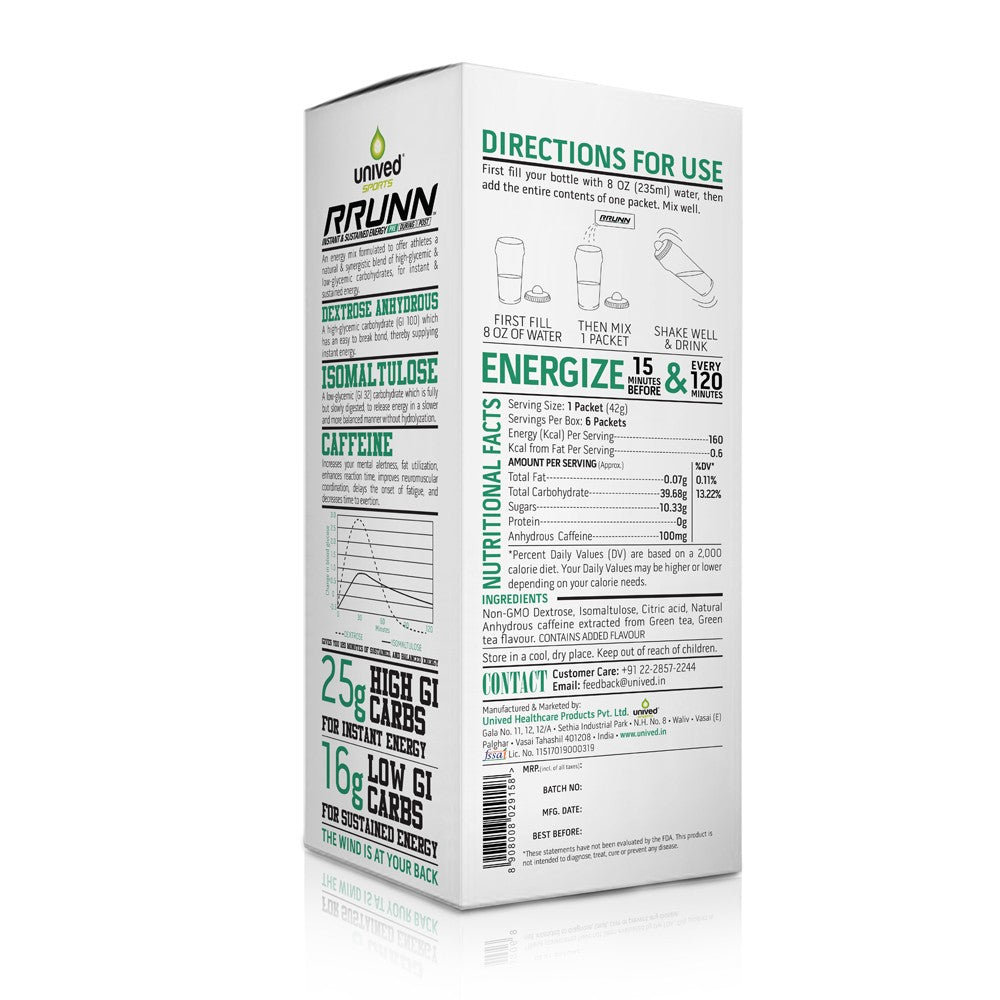 Unived RRUNN Pre Energy Sports Drink Mix - Caffeinated, Instant & Sustained Energy, Green Tea Flavour, 6 Servings