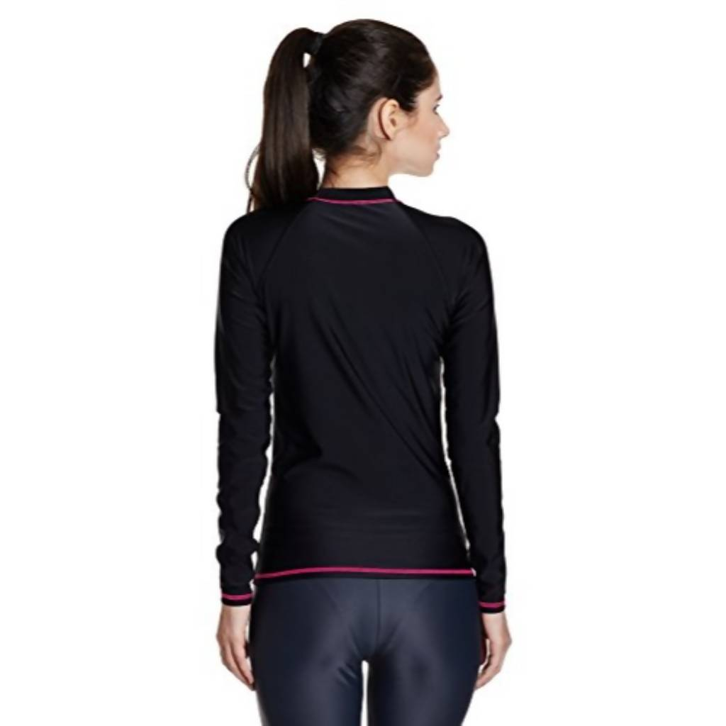 SPEEDO LONG SLEEVE SUNTOP AF - BLACK/ELECTRIC PINK