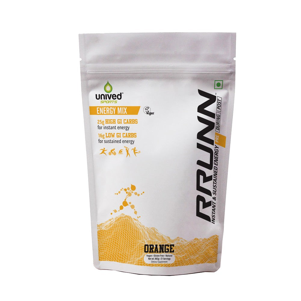 Unived RRUNN Pre Energy Sports Drink Mix, Instant & Sustained Energy, Orange Flavour, 21 Servings