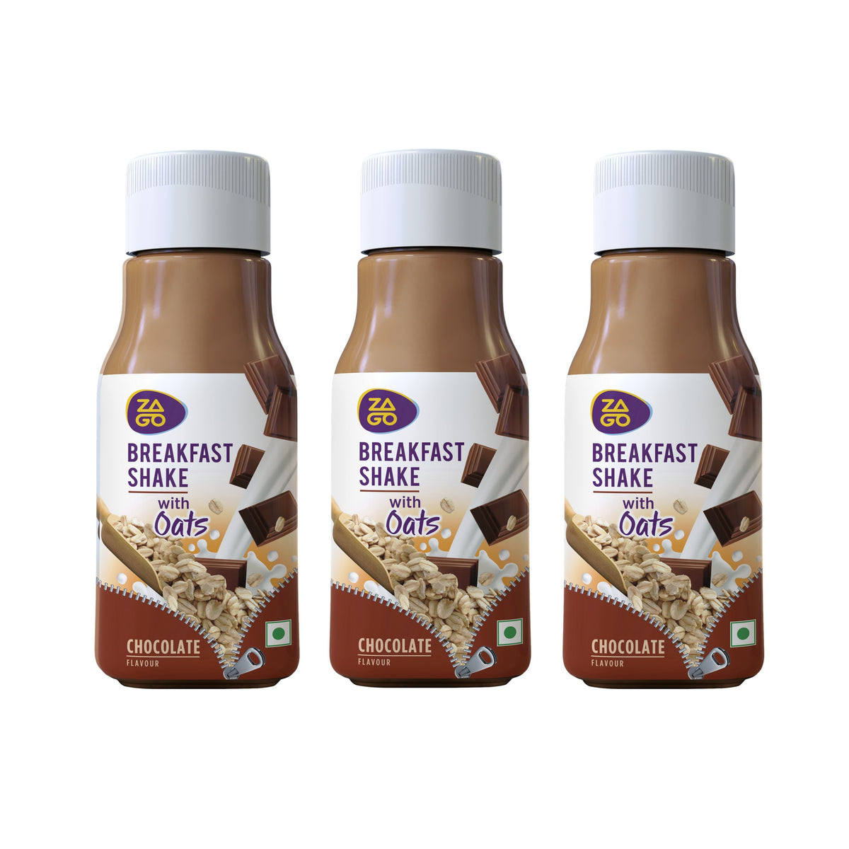 Zago Breakfast Shake Chocolate 250ml (Pack of 12 bottles)