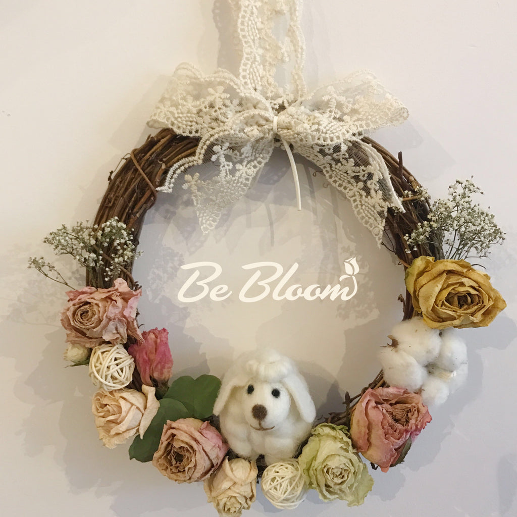 Dry Flowers & Wool Felt Wreath- 32cm