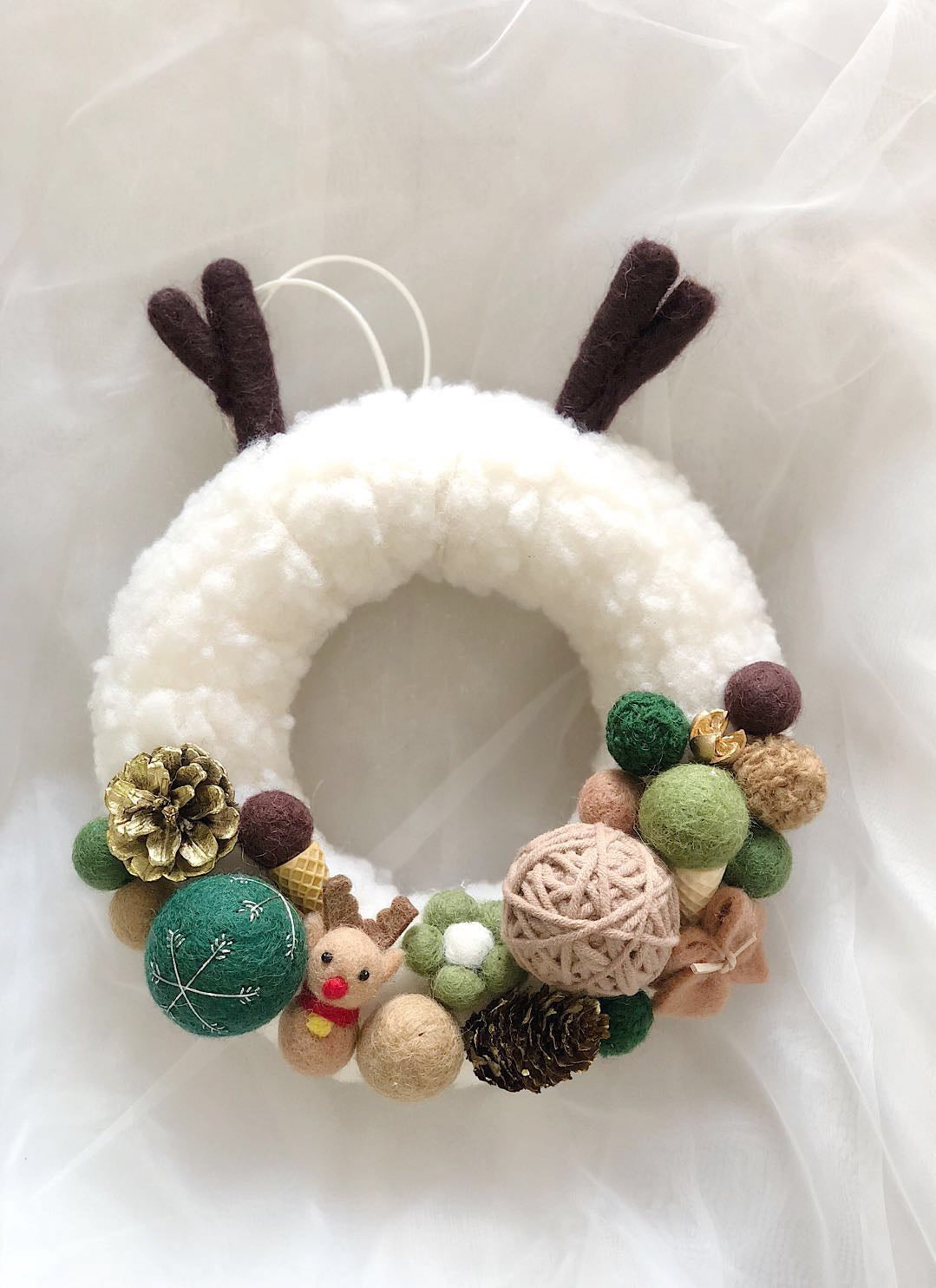 Christmas Wool Felt Wreath - 25CM