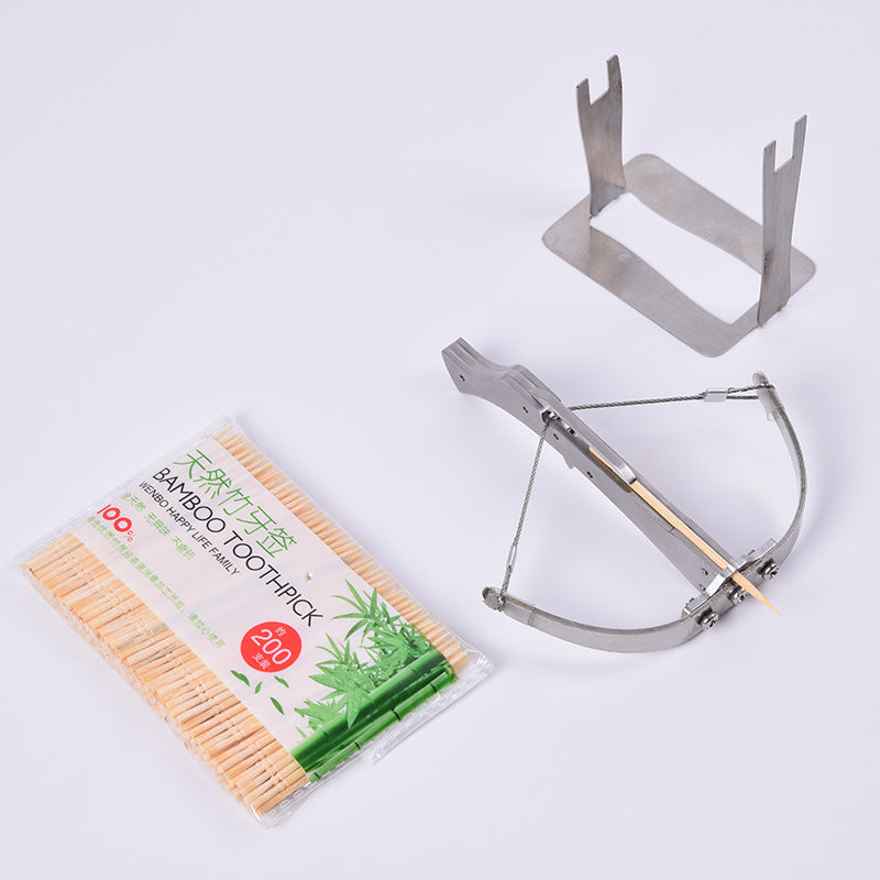 Mini Stainless Steel Crossbow Toothpicks Arrow Bow 3 Pull Options  with 200 bamboo sticks Toy for Children Toys Gifts