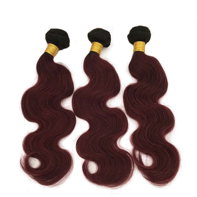 SurpriseHair #1B99J Color body Wave Hair Ombre Human Hair Bundles 3pc