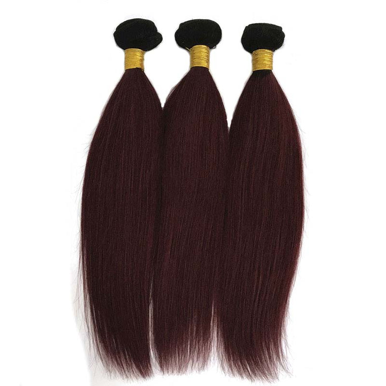 SurpriseHair #1B99J Color Straight Hair Ombre Wine Red Human Hair 3pc