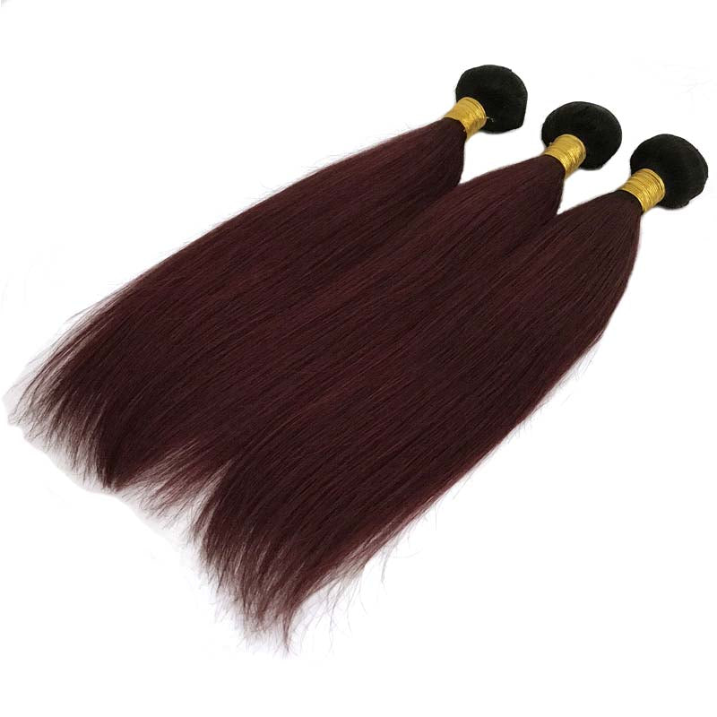 #1b99J ombre wine red human hair