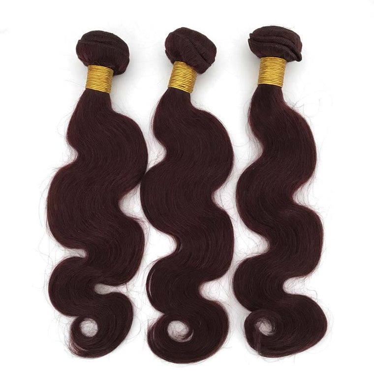 99J wine red body wave hair