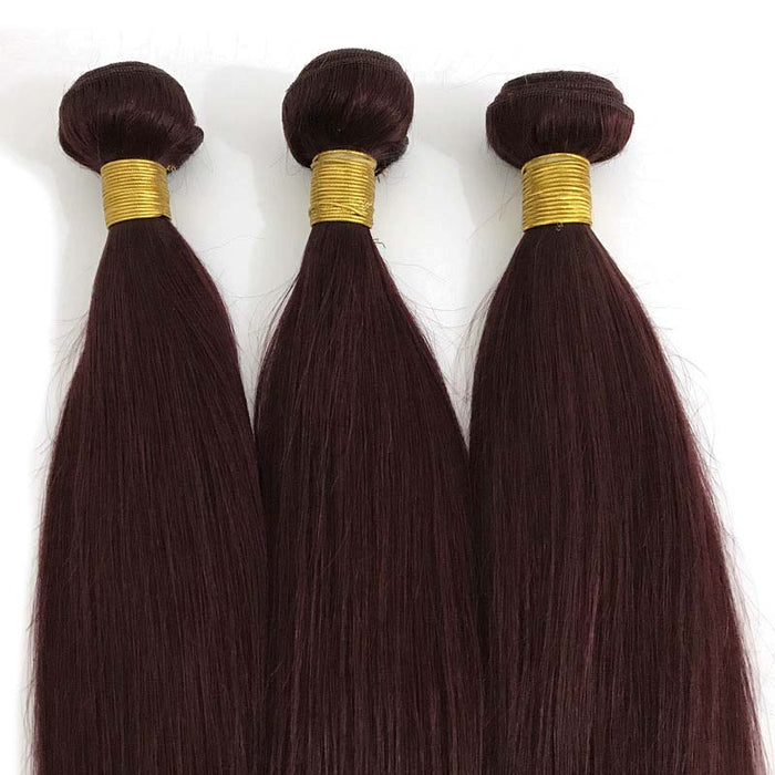wine red human hair straight