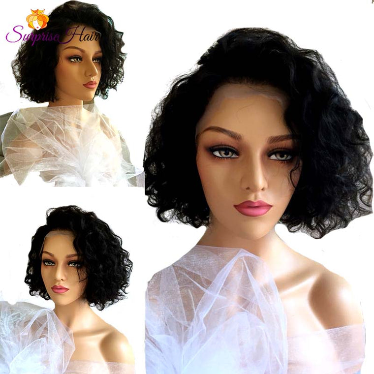 Middle Length Wave Bob Lace Wig Human Hair for Black women Surprisehair