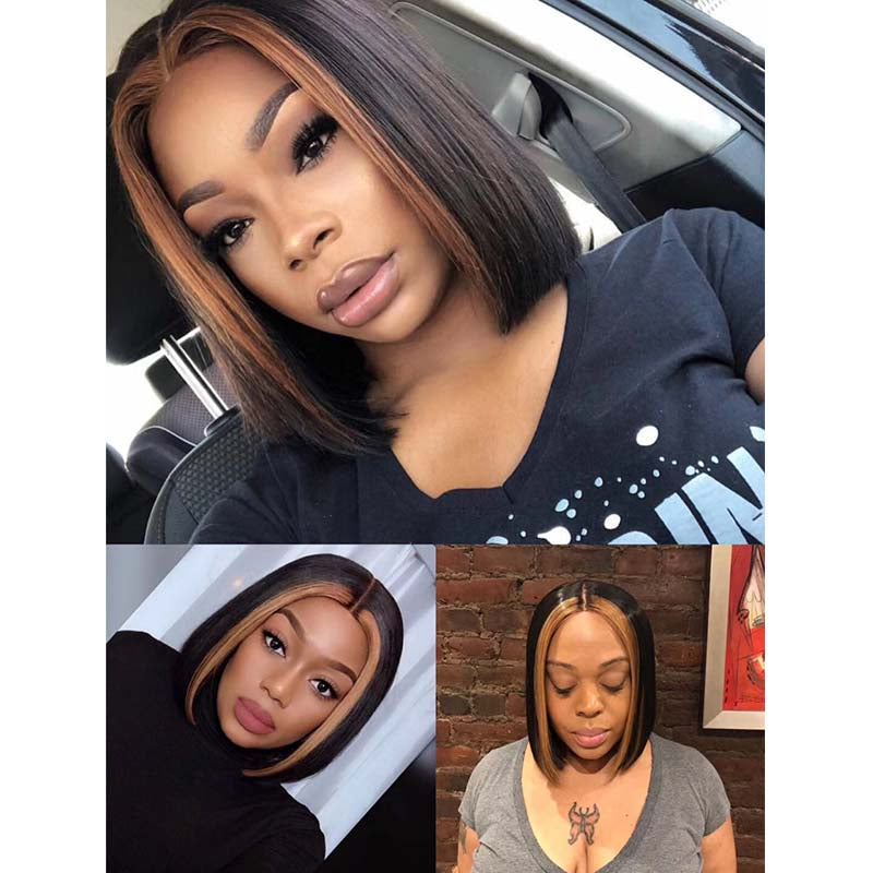 Short Highlight Bob Lace Wig Human Hair Lace Front Wig Surprisehair