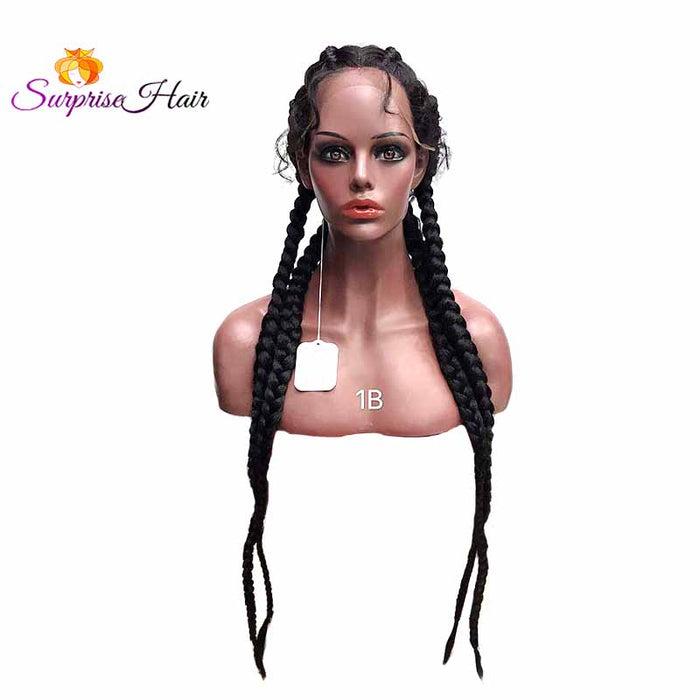 1Bblack cornrow braided lace wigs for African American