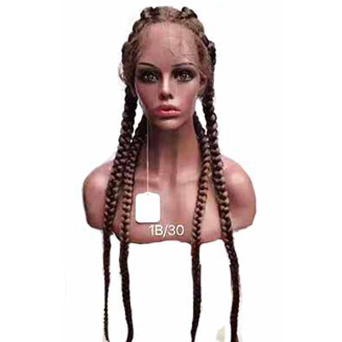 30 inches cornrow braided wig Lace Frontal with Baby Hair for Black Women