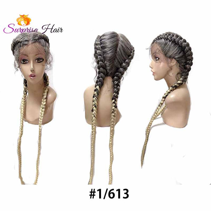 1b613 blonde ombre two cornrow braids wig