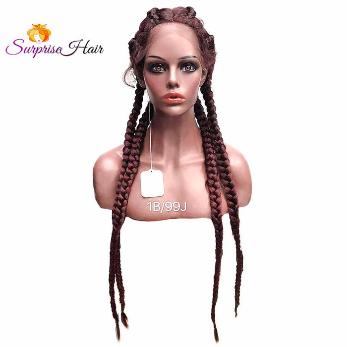 1b99J cornrow braided wig for black women_