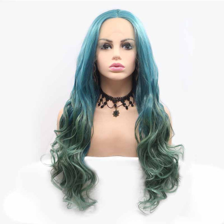 Surprisehair Blue Green Synthetic Wig Body Wave 24inch Lace Front wig For Sale