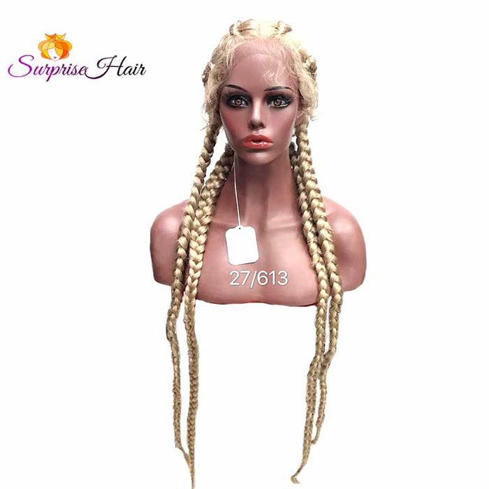 613 blonde cornrow braided lace wigs for black women