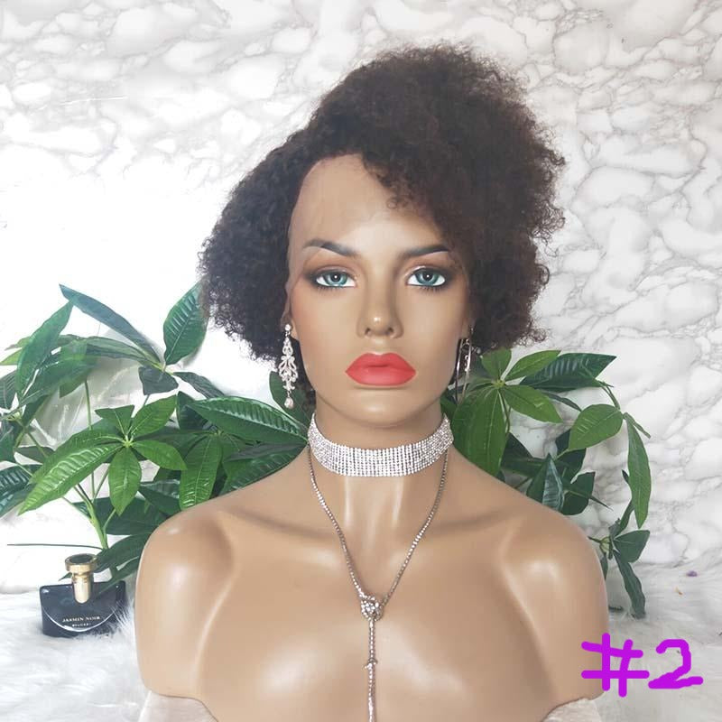 2 natural black pixie cut curly human hair wig
