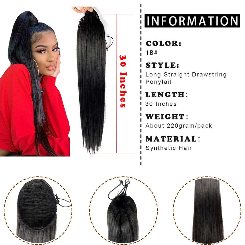 Natural Black Synthetic Long Ponytail Extension 30 Inch Straight Yaki Drawstring High Ponytail Clip-in Hairpiece for Black women